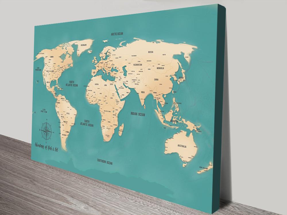 Teal Green Personalised Word Art Push Pin World Travel Map