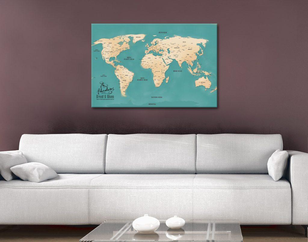 Teal Push Pin Map canvas wall art gift