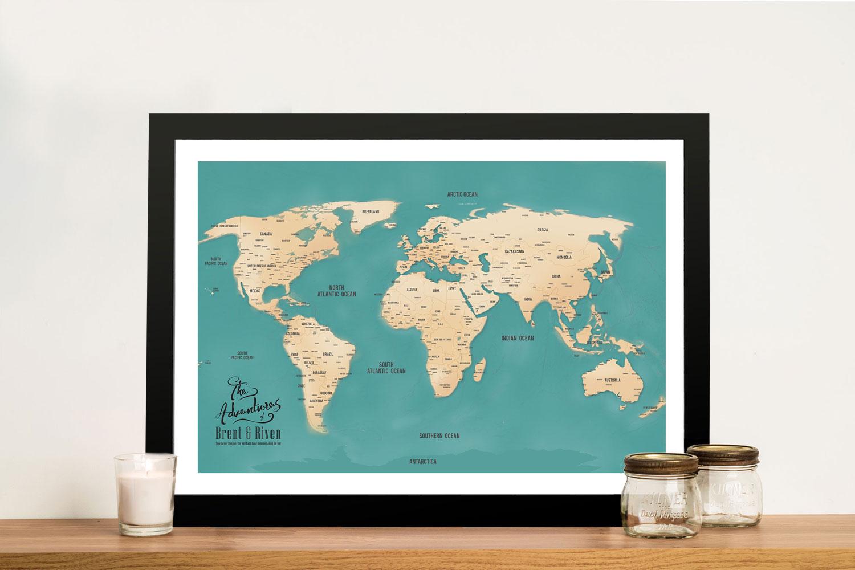 Aventuras Teal Push Pin World Map Framed Art | Push Pin World Map – Aventuras Teal