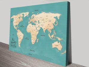 Aventuras Teal Push Pin World Map Canvas Print