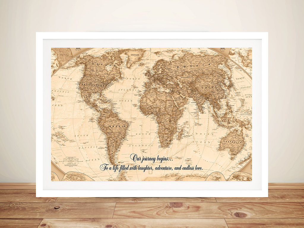 Typographic Push Pin World Map Canvas Framed Art