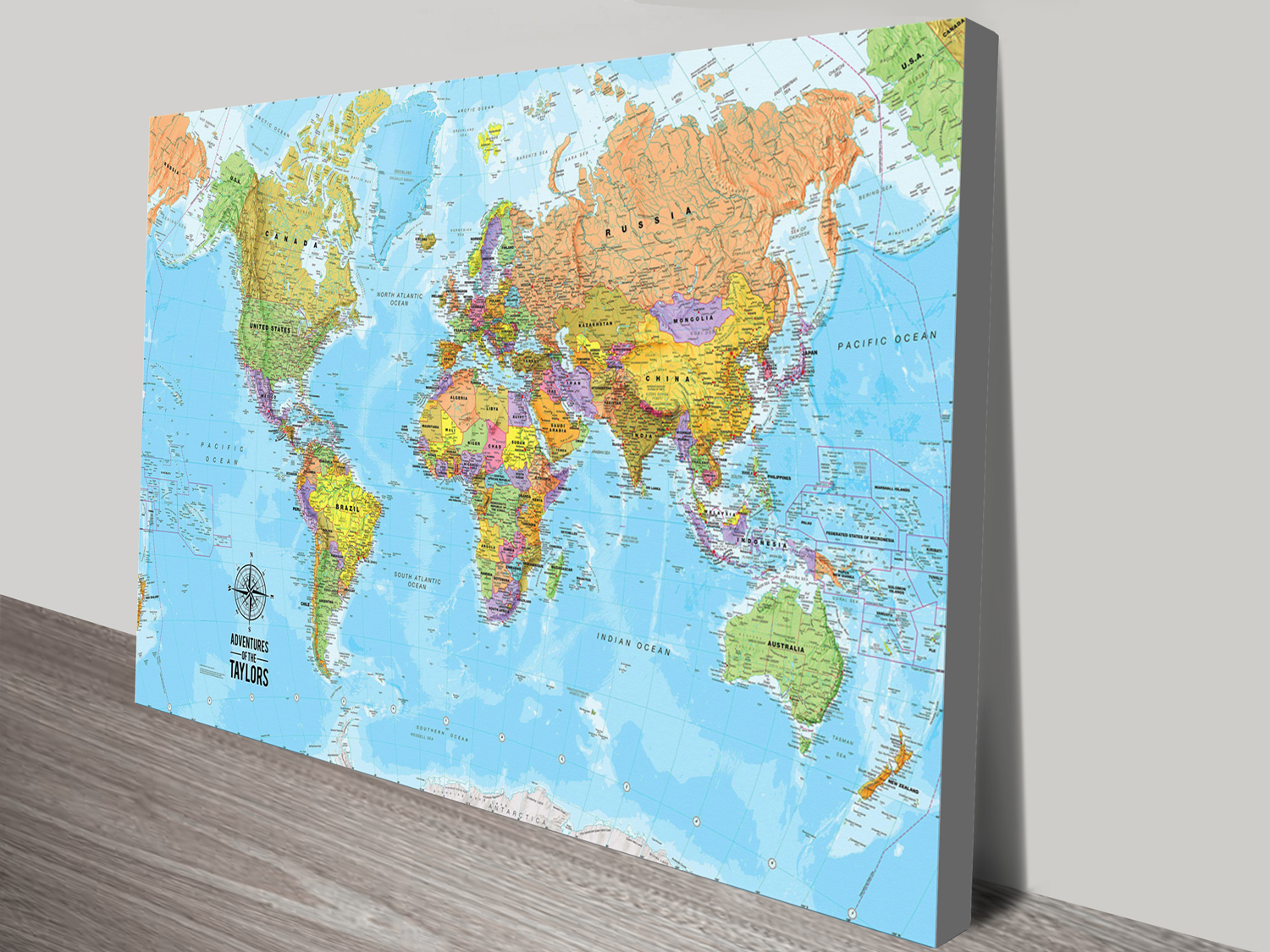 Bespoke push pin world travel map canvas art bespoke push pin world travel map push pin world map voyager gumiabroncs Image collections