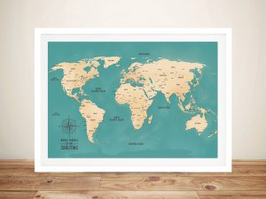 Aventuras Teal Push Pin World Map Framed Art