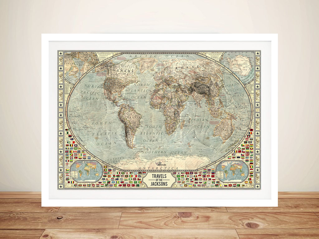 Customised Vintage Push Pin World Map Canvas Print