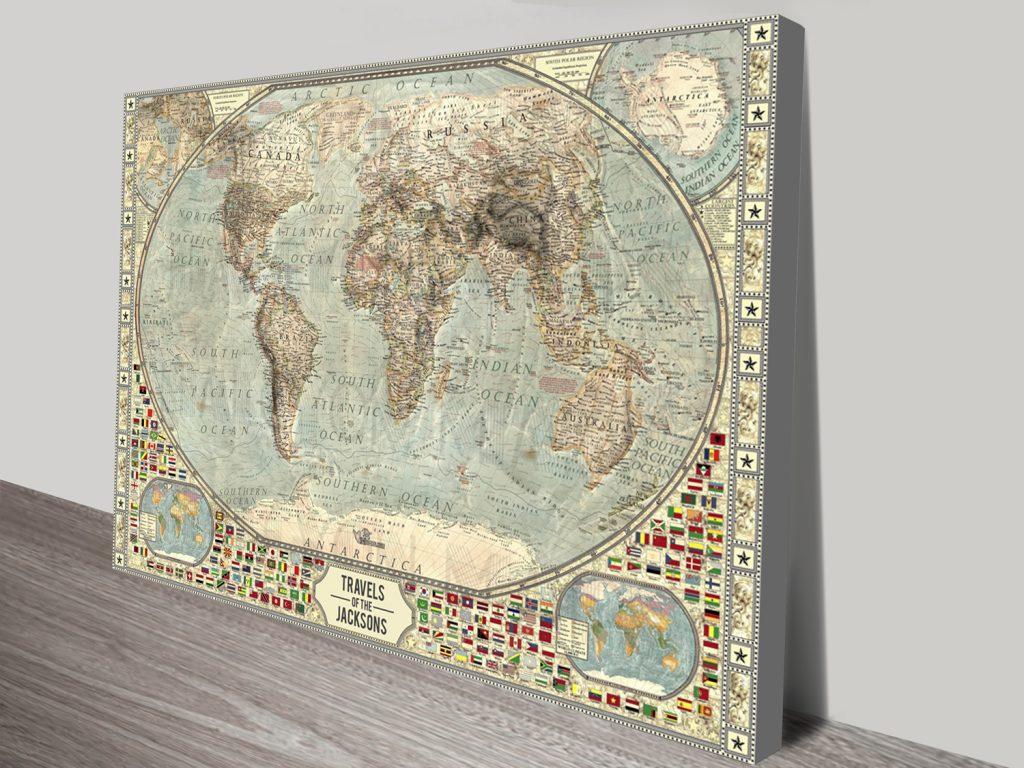 Customised Vintage Push Pin World Map Canvas Print