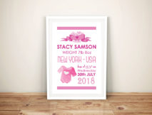 Personalised Baby Girl Art Framed Wall Art