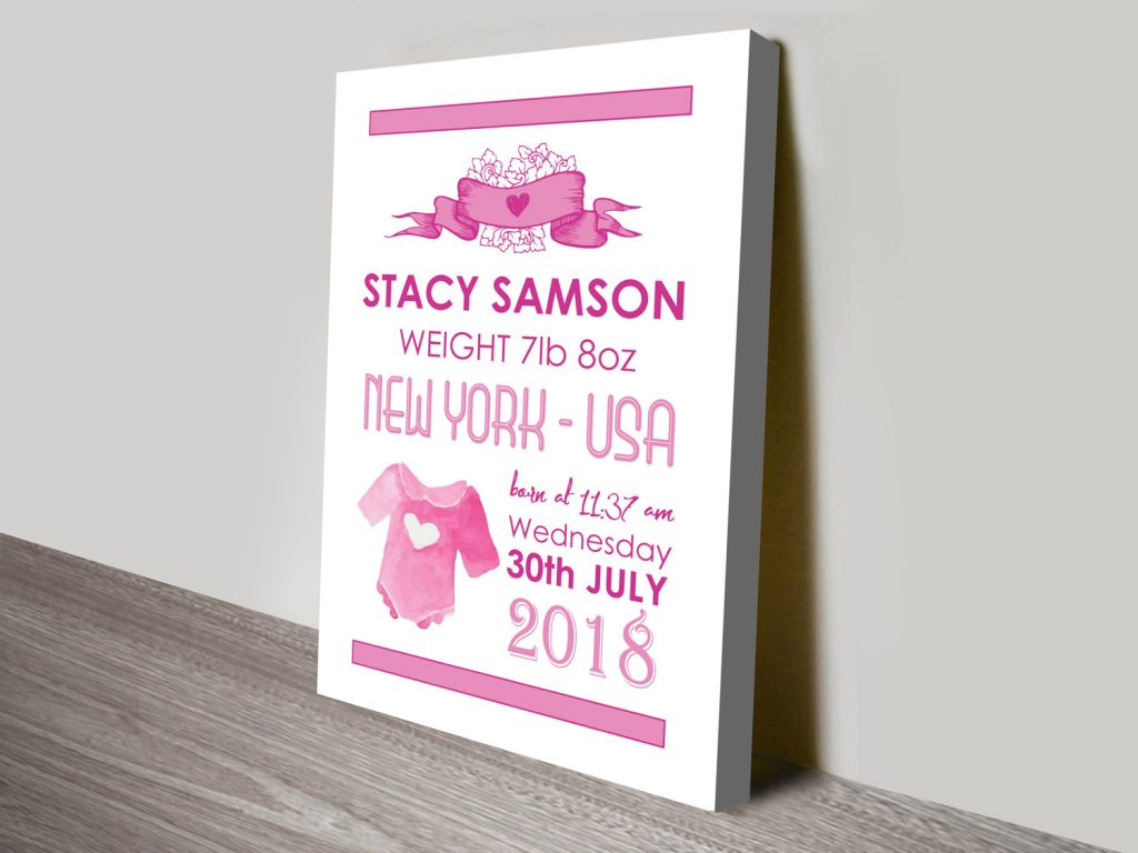 Custom Baby Gift Wall Art Prints Australia