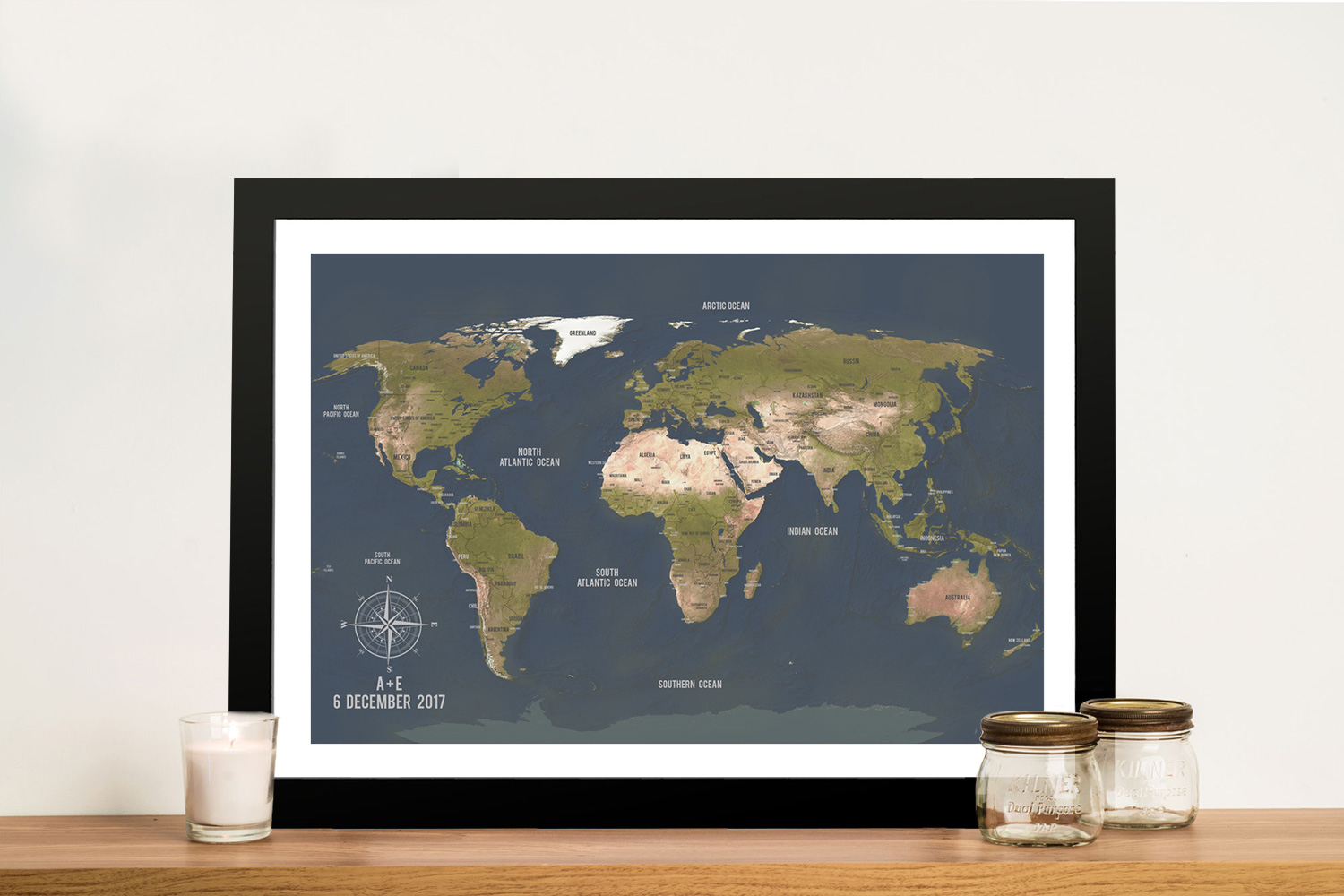 Charcoal World Map Framed Wall Art | Push Pin World Map – Aventuras Charcoal