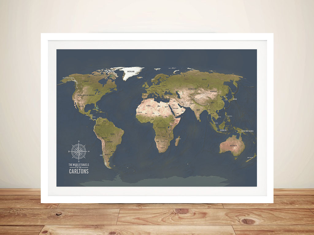 Charcoal World Map Framed Wall Art