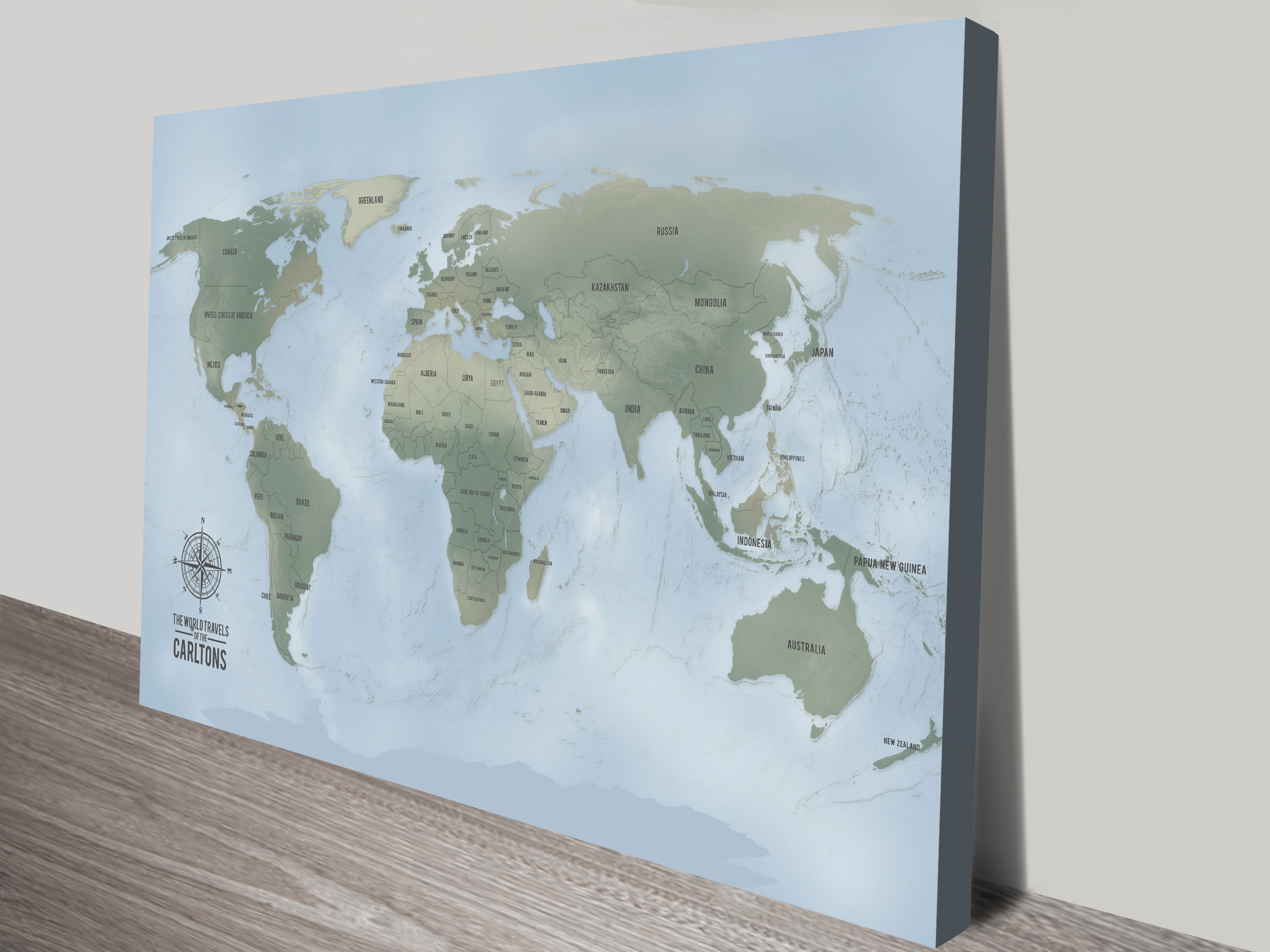 Cyan Custom Push Pin World Travel Map Canvas Picture | Push Pin World Map – Aventuras Cyan