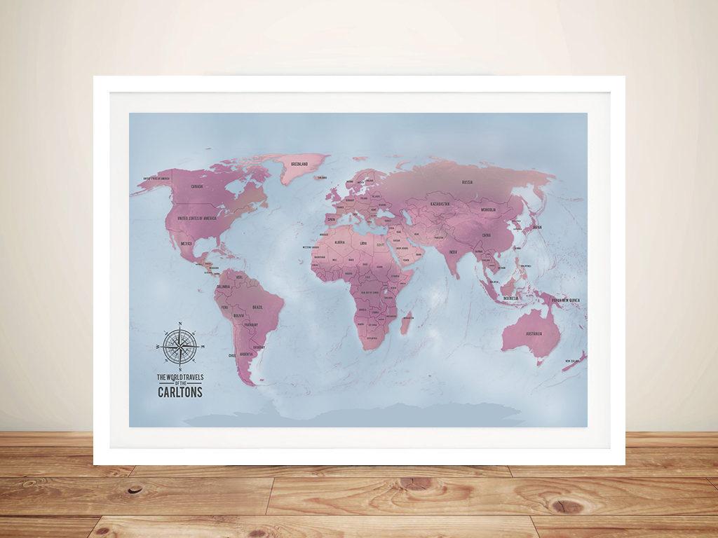 Magenta Personalised World Map Art