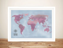 Magenta Personalised World Map Art