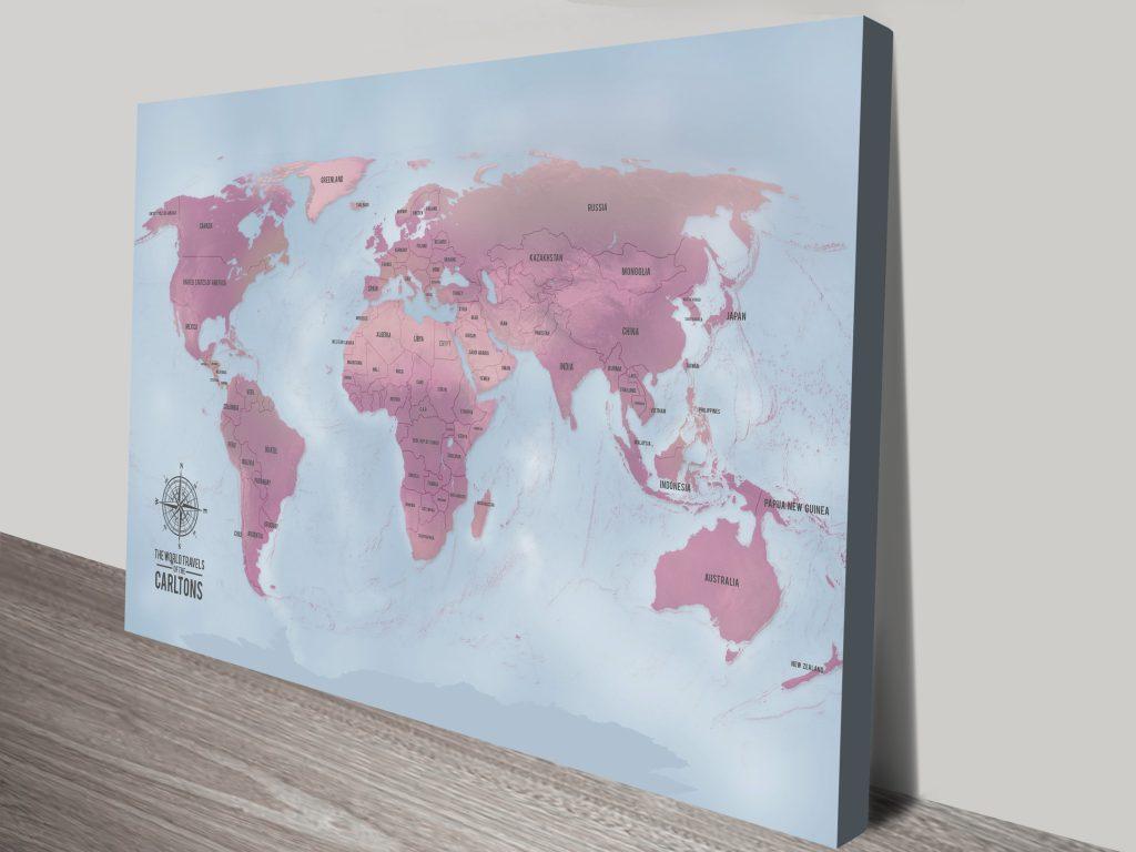 Magenta Personalised Push Pin World Travel Map Canvas Print