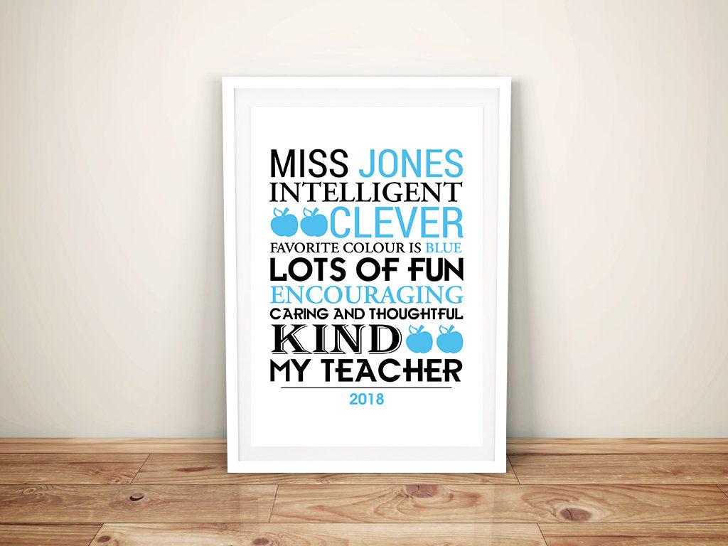 Personalised Teacher Framed Word Art