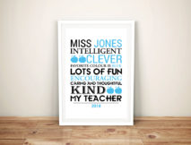 Personalised Teacher Framed Word Art