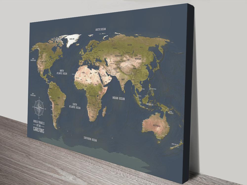 Custom World Map Art With Cities canvas print