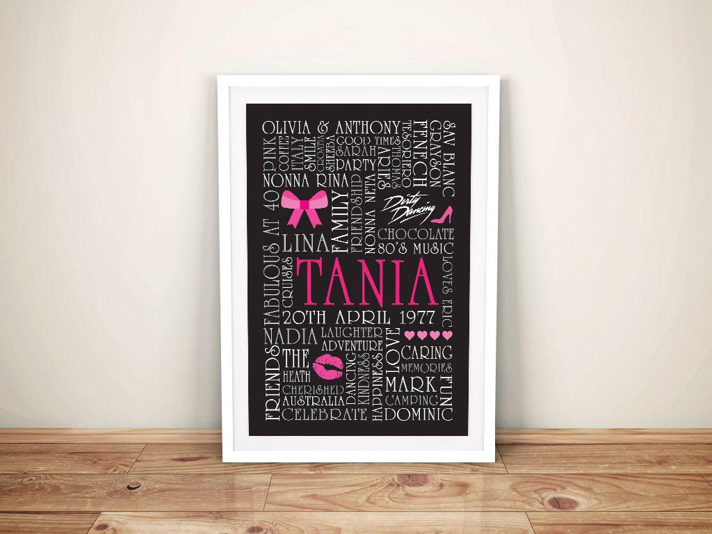 Pink Bows Custom Word Art Gift idea for Girls