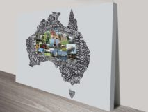 Custom Typographic Map Art with Photos Australia