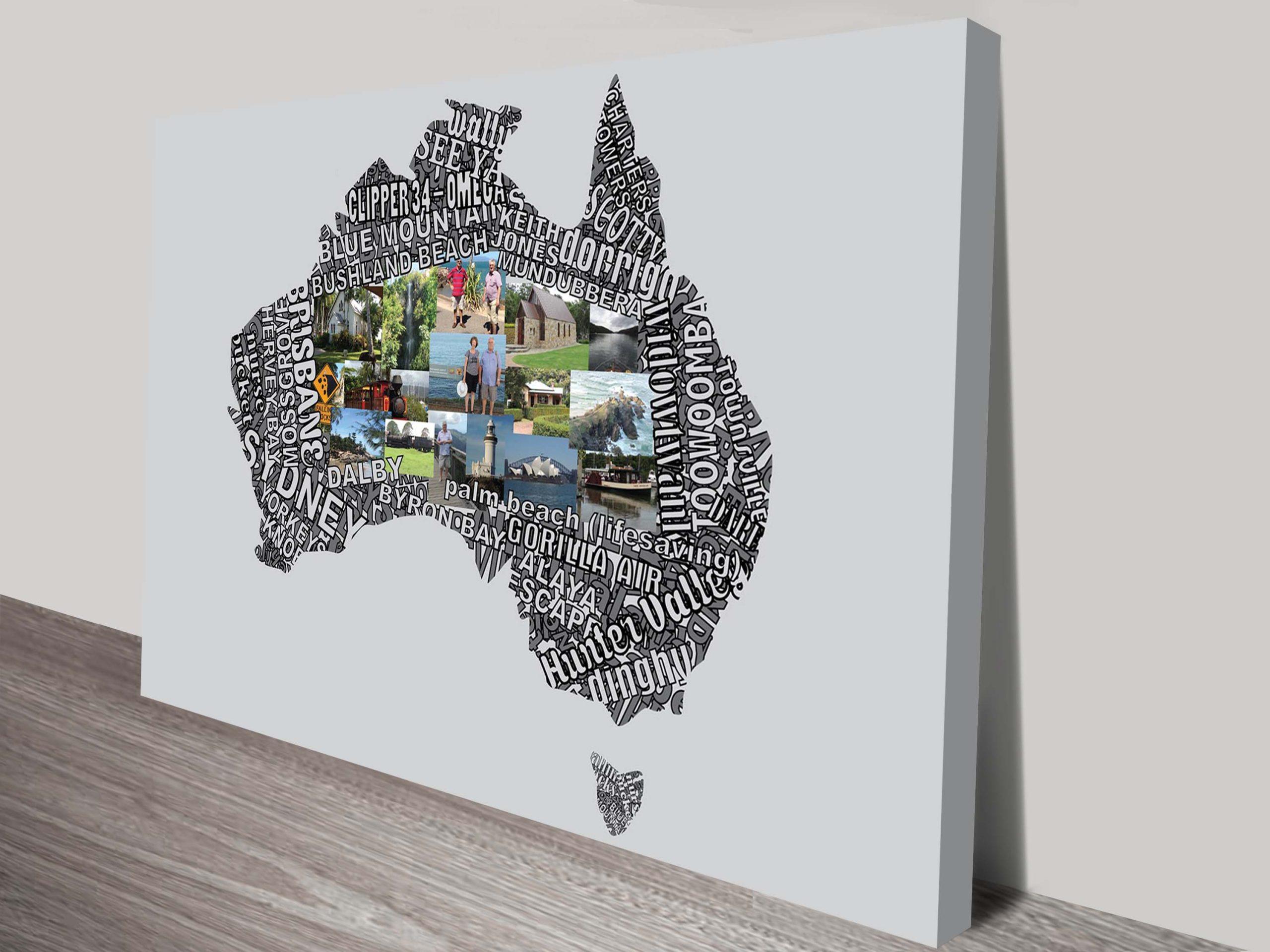 Custom Typographic Map Art with Photos Australia | Typographic Map Art with Photos
