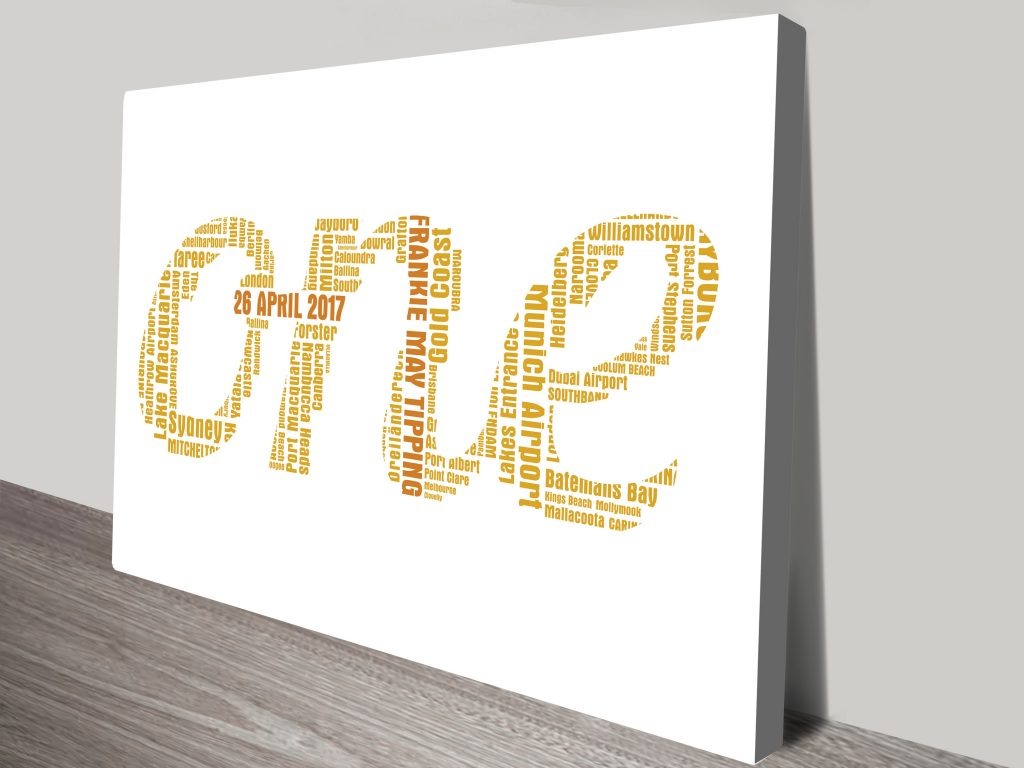 Bespoke Word Outline Canvas Art Brisbane