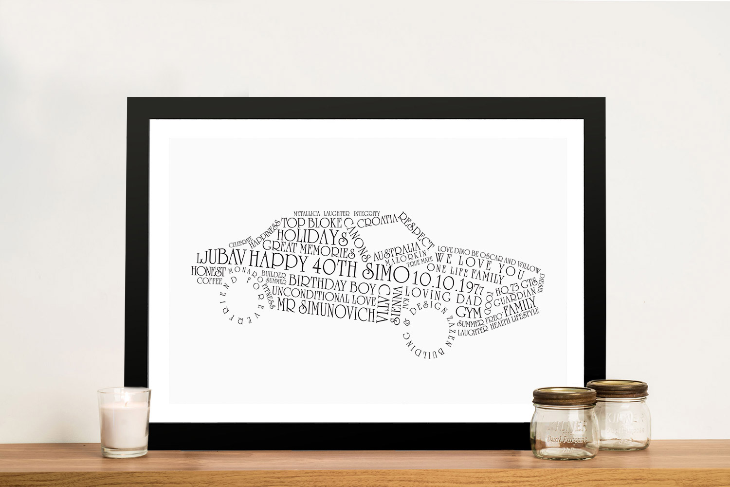 Car Shape Unique Fathers Day Gift | Custom Car Art