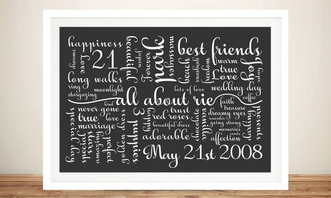 Calligraphy Custom Framed Word Art