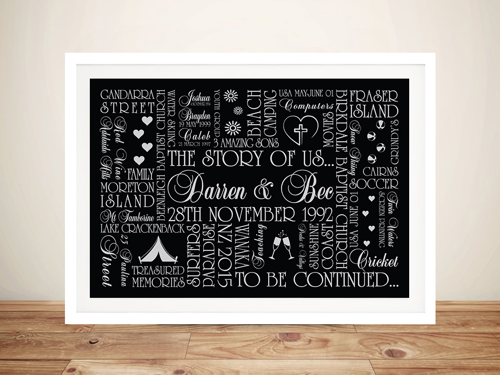 Custom Gift Word Picture Art Australia | The Story of Us