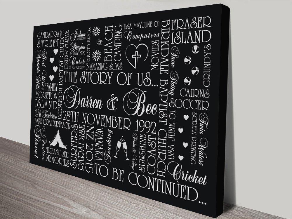 The Story of Us Custom Gift Word Picture Art Australia