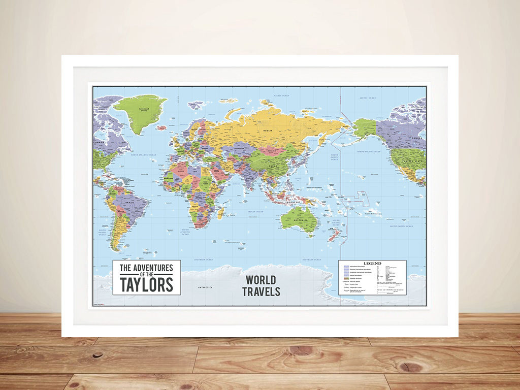 World map australia centric Framed Wall Art