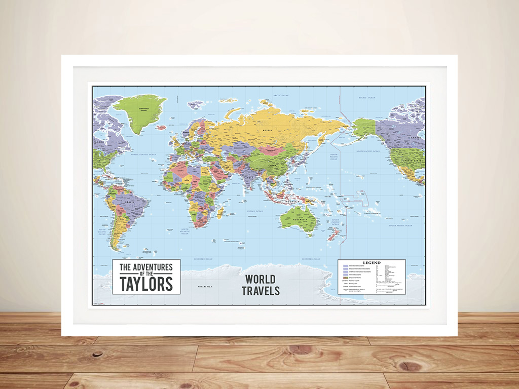 World map australia centric Framed Wall Art | *Push Pin World Map –  Australia Centric