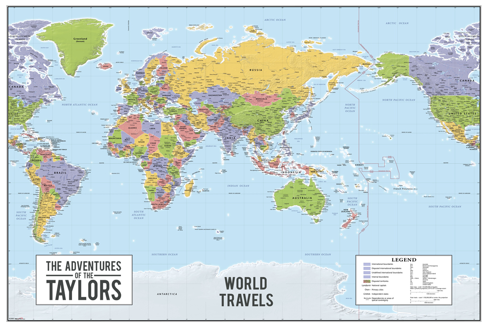 World push pin map australia centric wall art