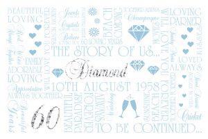 60th Diamond Wedding Anniversary Art Word
