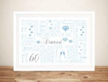 Diamond Wedding Anniversary Framed Wall Art Gift