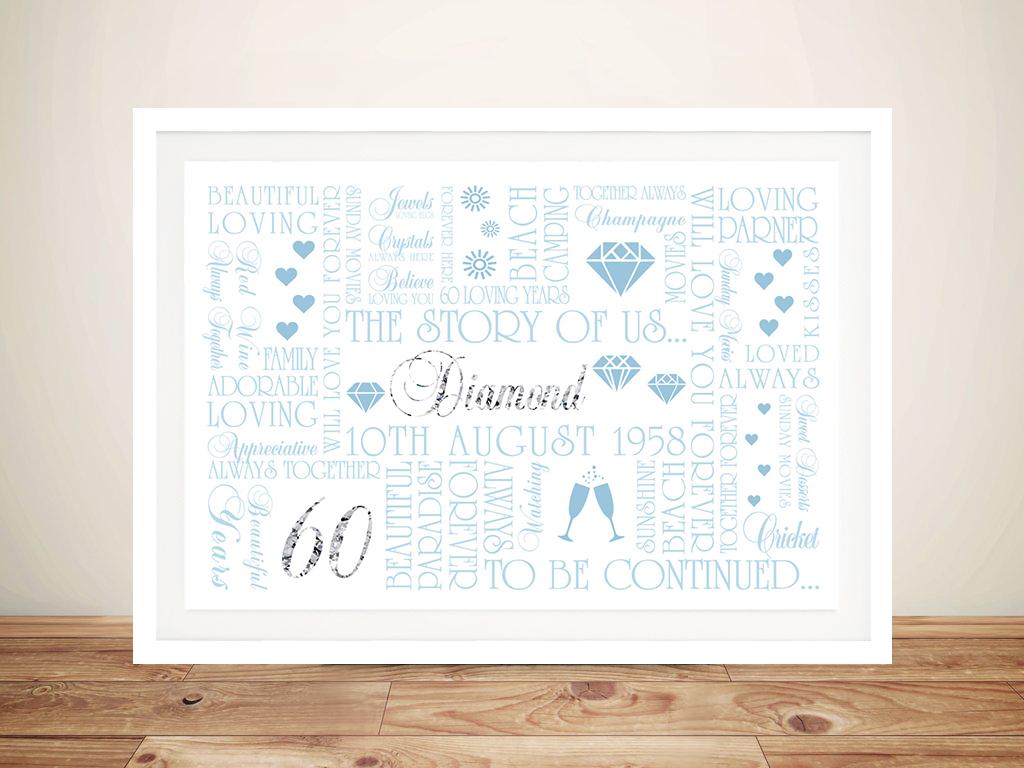 Diamond Wedding Anniversary Framed Wall Art Gift | 60th Diamond Anniversary Art