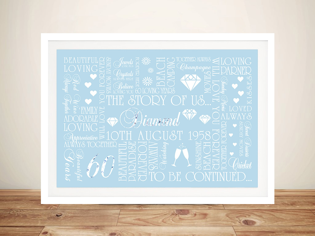 Diamond Wedding Anniversary Framed Wall Art Gift | 60th Diamond Anniversary Art