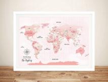 Pink Shades Push Pinboard World Travel Map