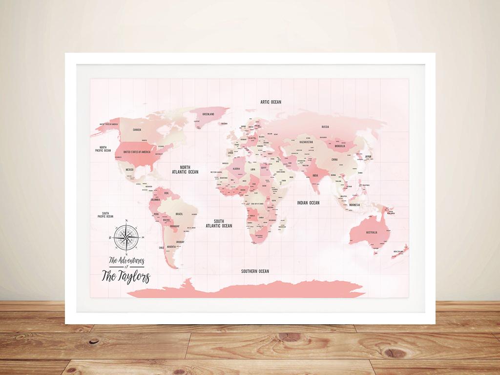 Pink Shades Push Pinboard World Travel Map | Pink Shades Push Pin World Map