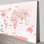Pink-Push-Pinboard-World-Travel-Map-Canvas-Art