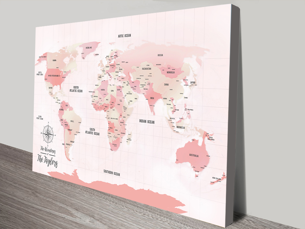 Pink Push Pinboard World Travel Map Canvas Art