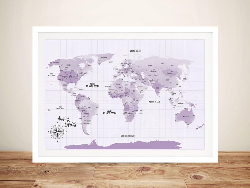 Purple Shades Pinboard World Travel Map Art Gift | Purple Shades Push Pin World Map