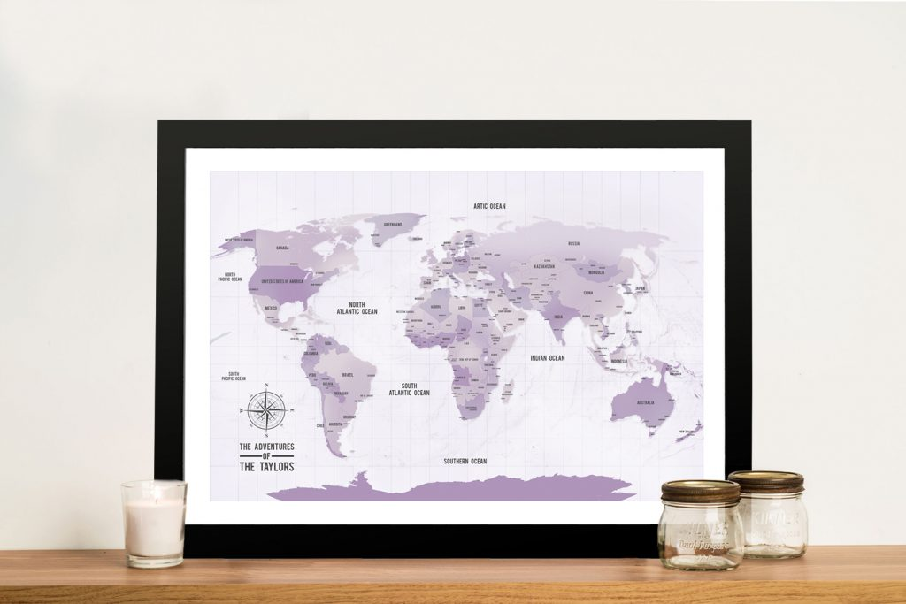 Purple Shades Pinboard World Travel Map Art Gift