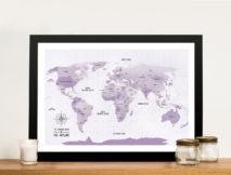 Purple Shades Pinboard World Travel Map Art Gift