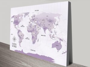 Pinboard World travel Map canvas print