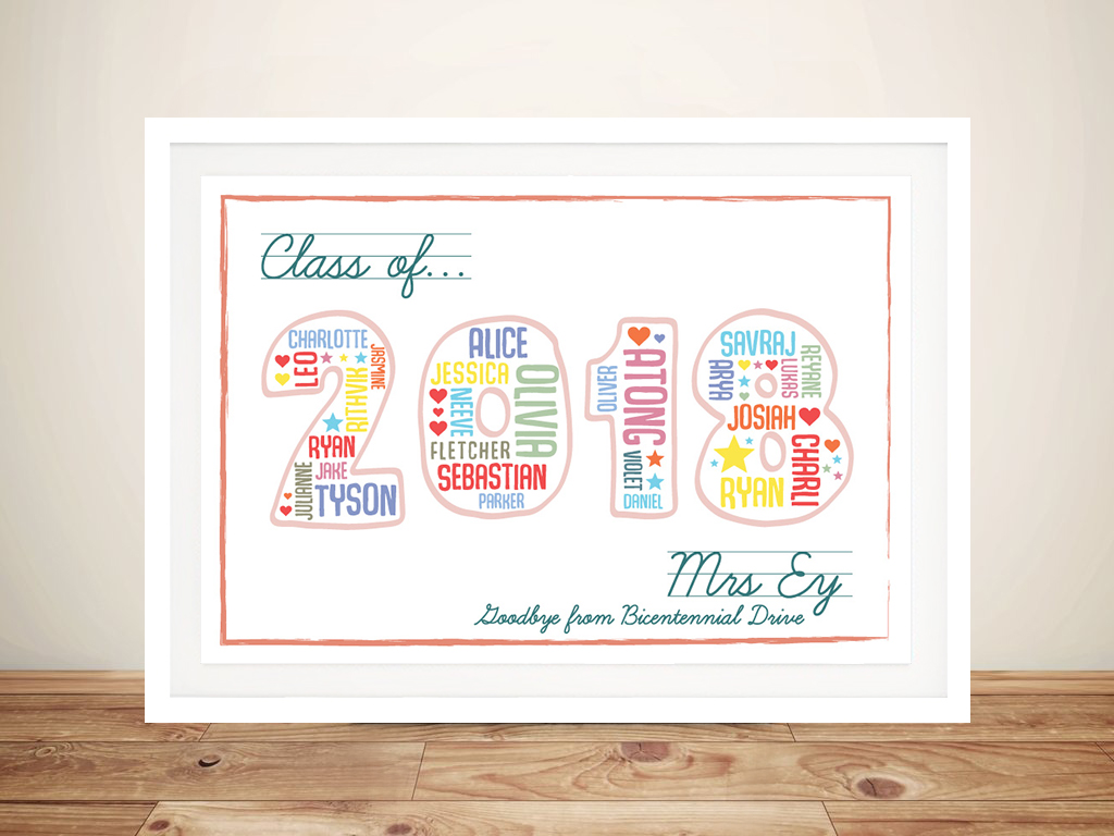 Teacher Personalised Gift Idea Artwork | A Class Goodbye