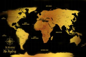 Black And Gold Pinboard World Map