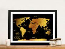 Customised Black & Gold Pushpin Travel Map Artwork