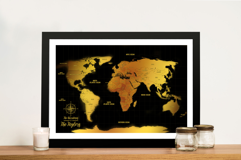 Customised Black & Gold Pushpin Travel Map Artwork | *Black & Gold Push Pin Map