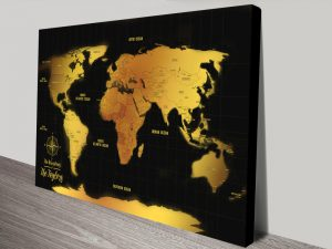 Personalised Black And Gold World Map Canvas Print