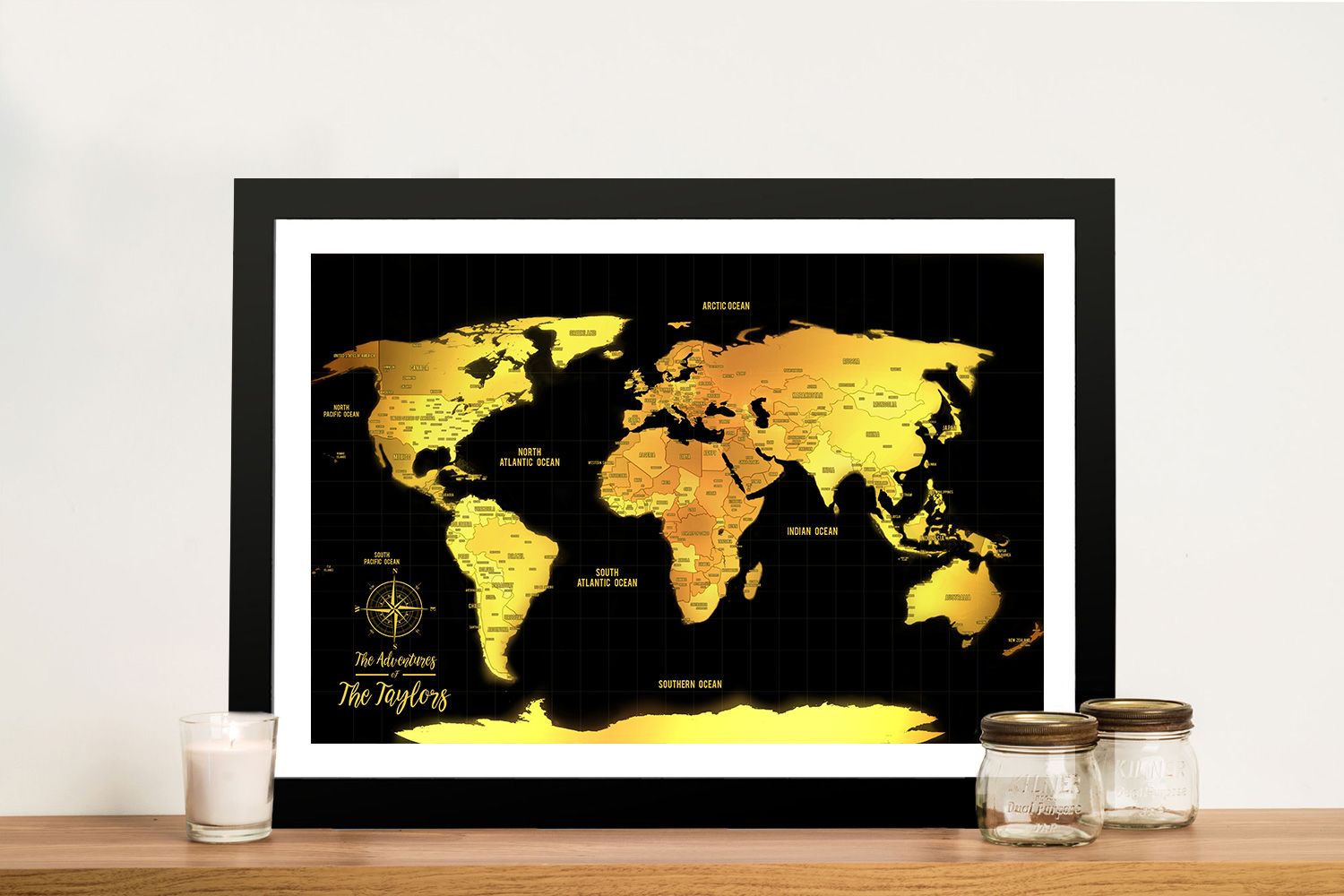 Customised Black & Gold Pushpin Travel Map Artwork | Black & Gold Push Pin Map