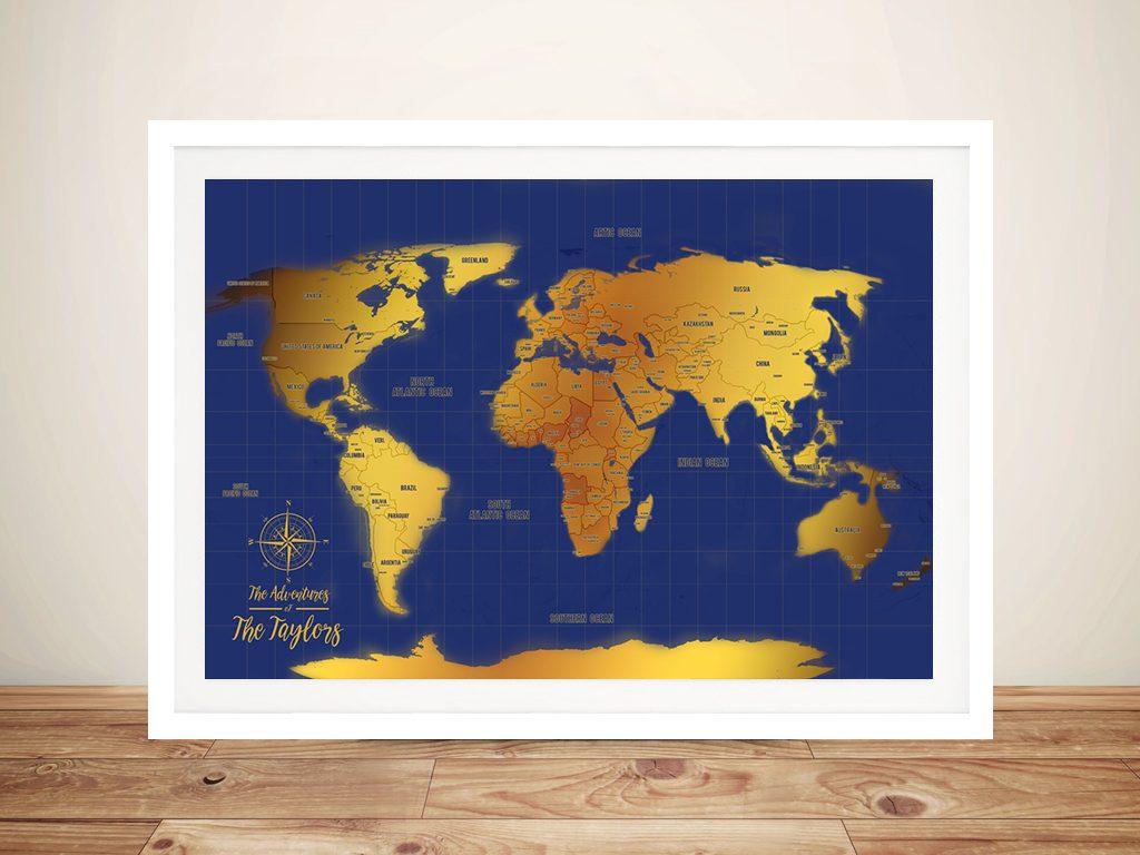 Custom Blue & Gold Pushpin World Travel Map Art Gift